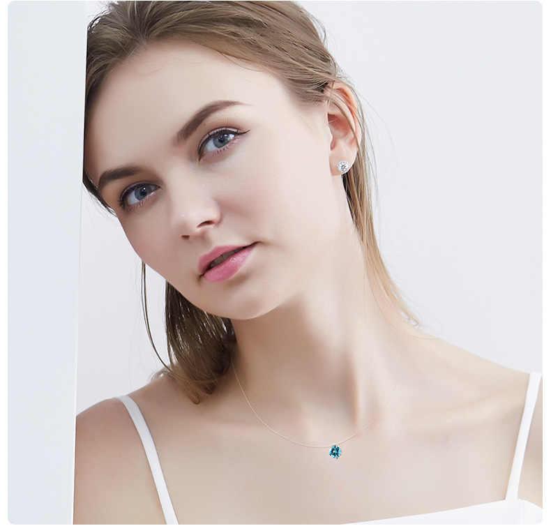 2019 ホット販売シルバー眩しいジルコンネックレスと見えない透明釣り糸シンプルなペンダントチェーンと女性のための