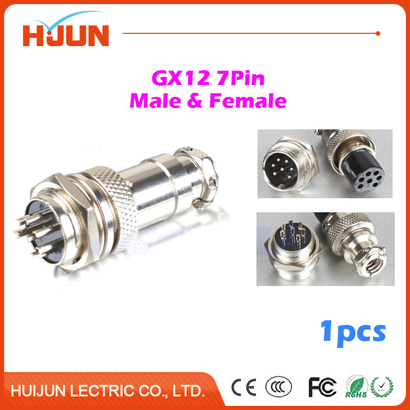 1pcs gx12 7 pin high quality male & female 12mm wire cable panel connector  aviation plug gx12 circular socket connector