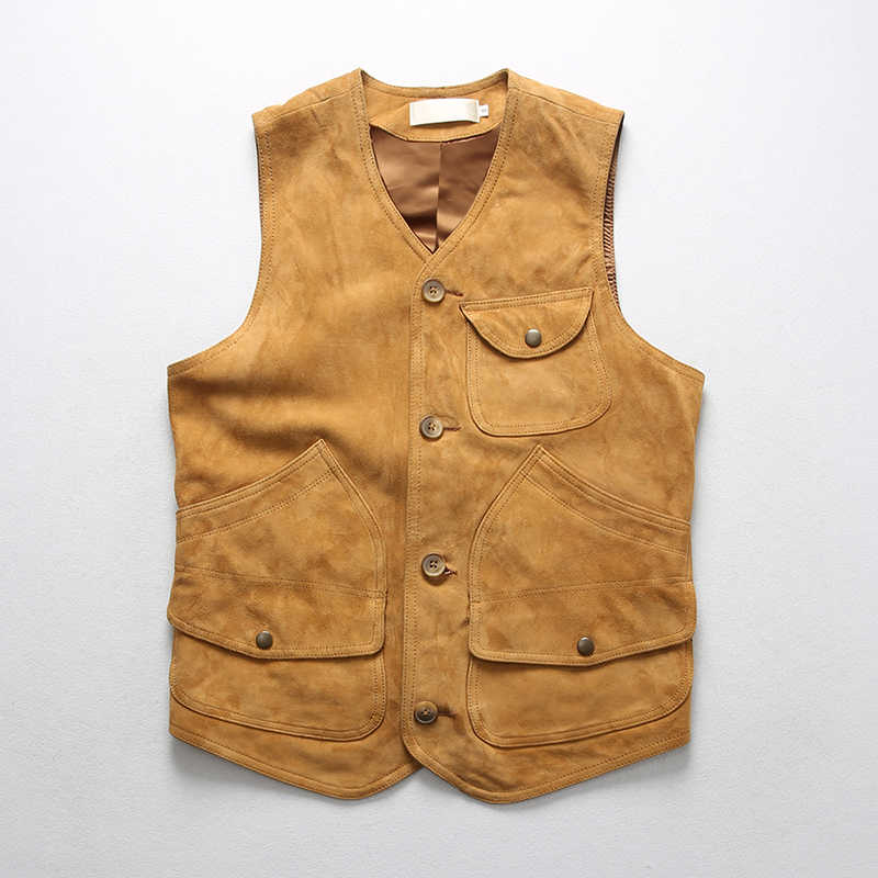 Read Description! Asian size quality sheep leather waistcoat men's stylish suede vintage vest