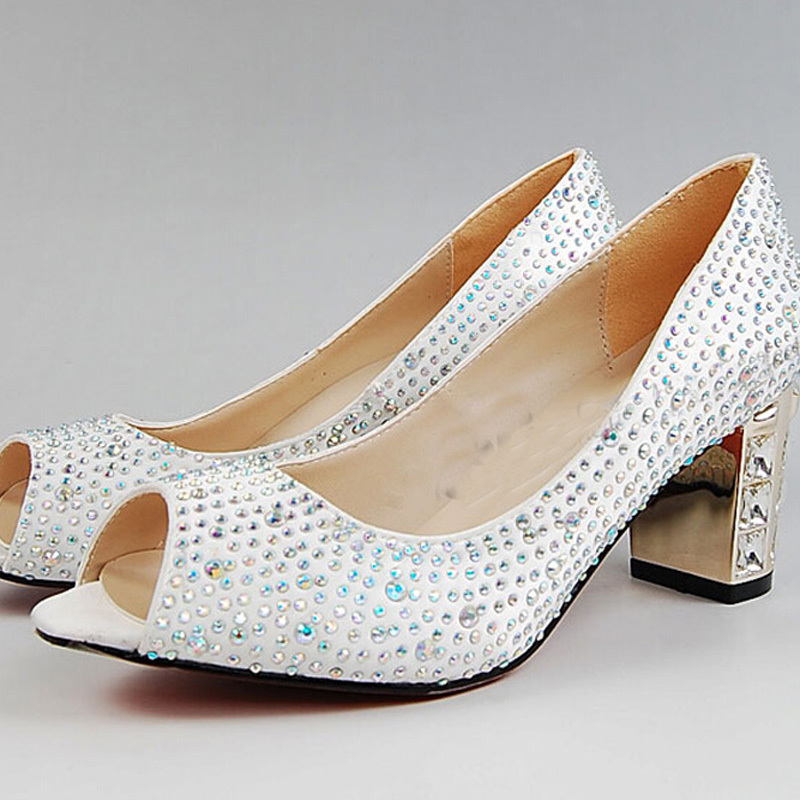 Peep Zapatos Toe Blanco Satin Bridal Wedding Zapatos Peep Rhinestone Chunky Heel a10ec9