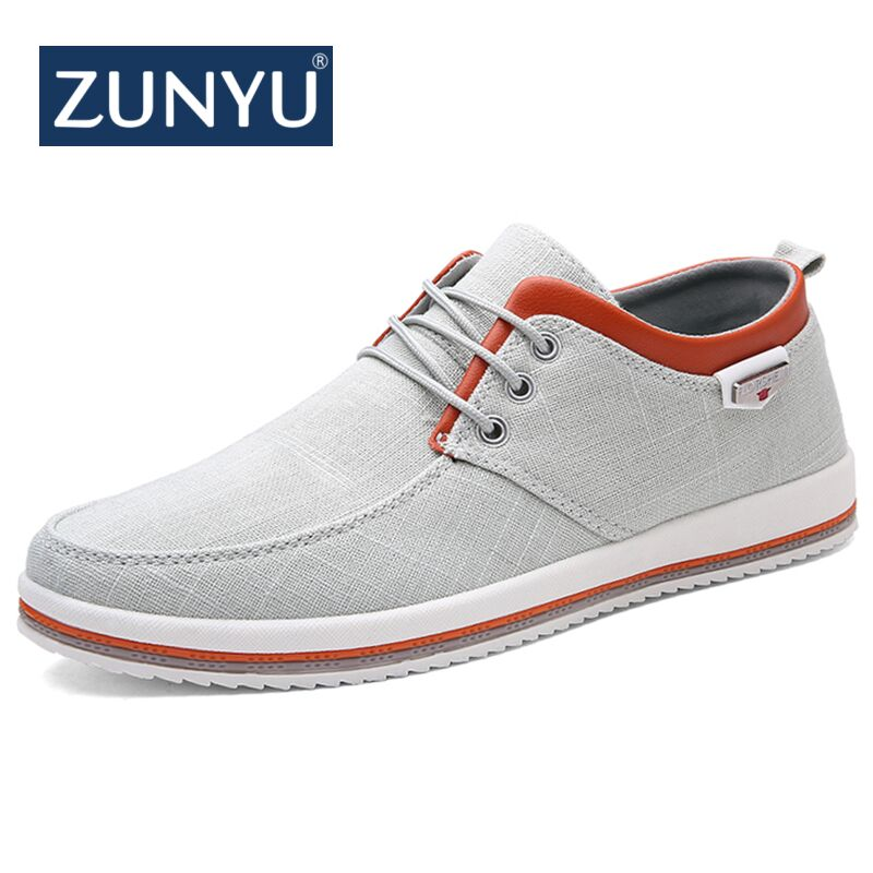 все цены на ZUNYU New Arrival Spring Summer Comfortable Casual Shoes Mens Canvas Shoes For Men Lace-Up Brand Fashion Flat Loafers Shoe онлайн