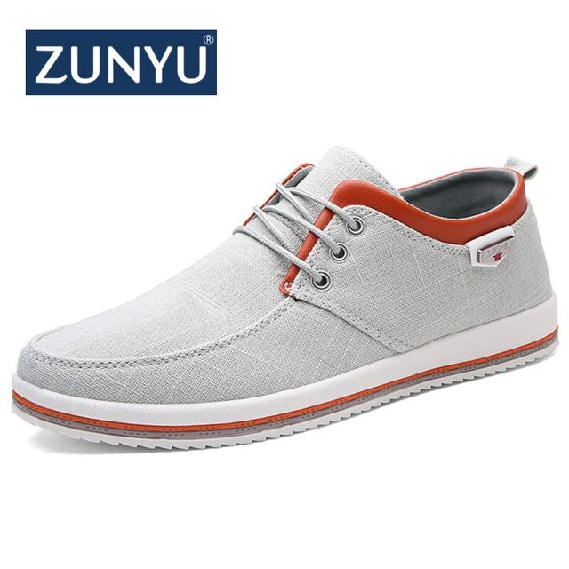 2bcfbbe4e1c ZUNYU New Arrival Spring Summer Comfortable Casual Shoes Mens Canvas Shoes  For Men Lace-Up Brand Fashion Flat Loafers Shoe