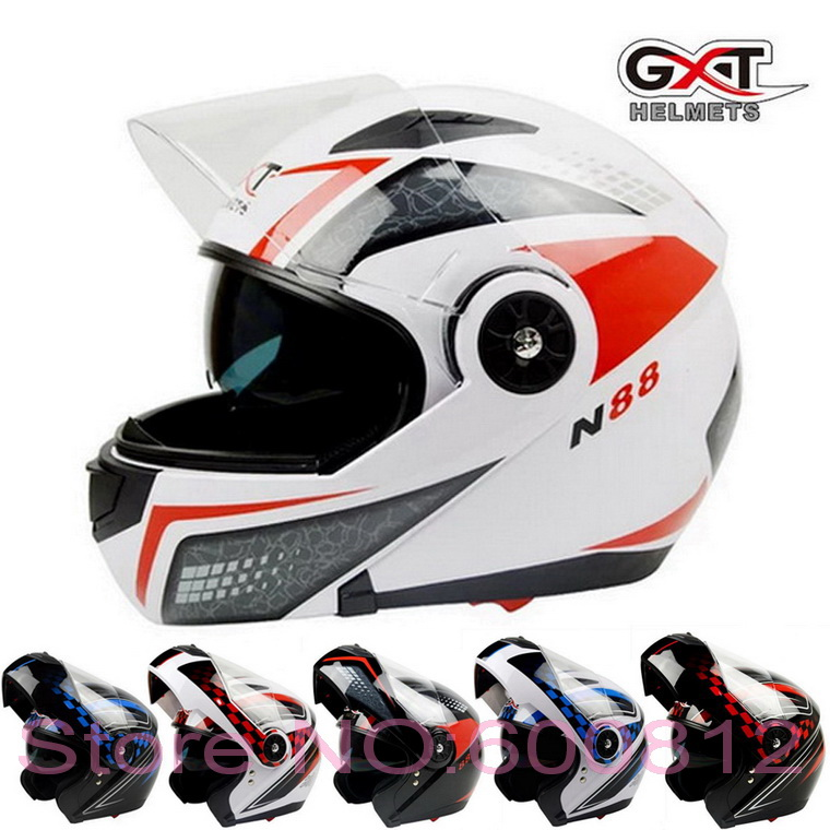2017 New GXT exposing face motorcycle helmet anti-fog double lens flip up motorbike helmets full-covered moto racing helmets