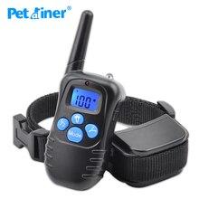 Petrainer 998DRB 1 300M şarj edilebilir ve yağmur geçirmez şok titreşim uzaktan kumanda LCD elektrik Pet köpek eğitim yaka