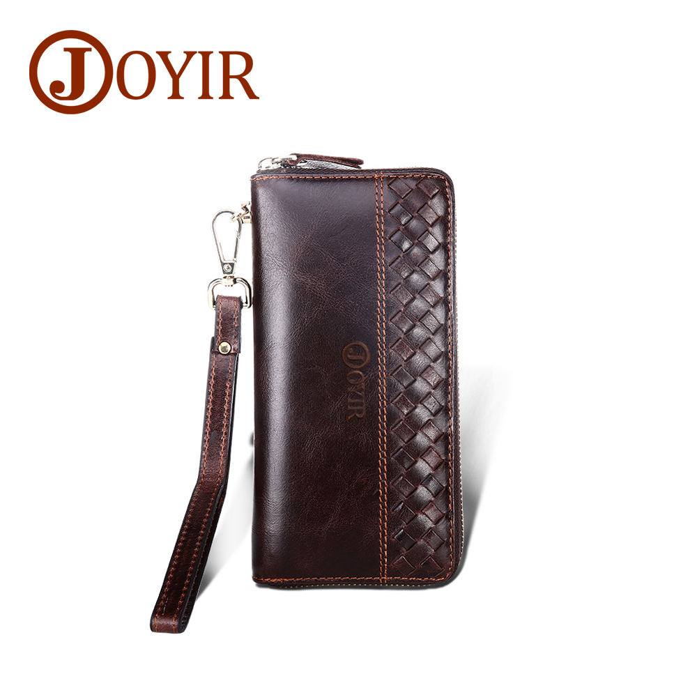 JOYIR Genuine Leather Men Wallets Knitted Zipper Design Business Male Wallet Fashion Purse Card Holder Long Clutch Wallets 9365 fashion men multifunction wallets men s long purse high capacity wallet male clutch genuine leather zipper coin bag card holder