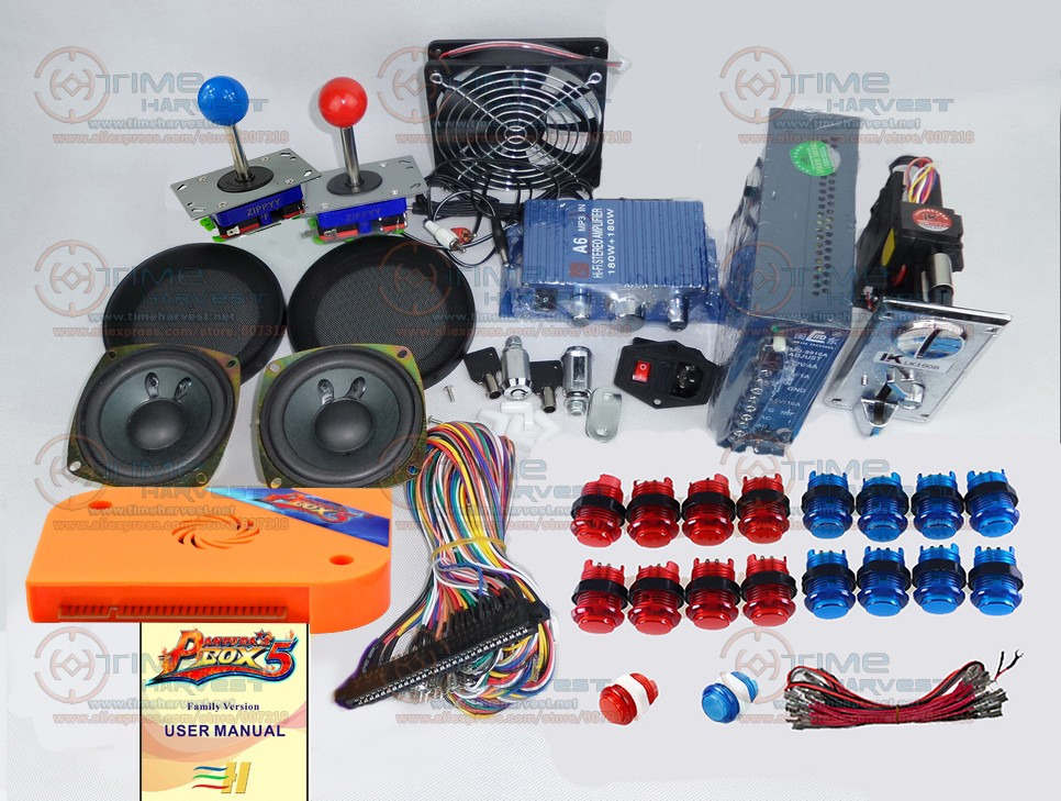 Arcade parts Bundles kit With 960 in 1 multi game Pandora Box 5 Long Joystick 12V LED illuminated button Jamma Harness Coin mech led lights mini arcade bundle machines 645 in 1 joystick game consoles with jamma multi games pandora 4 game pcb board