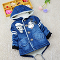 BibiCola Children thick warm outerwear Jeans jacket casual coat  Fashion baby boys Cartoon coat  Kids Minnie Mouse clothes