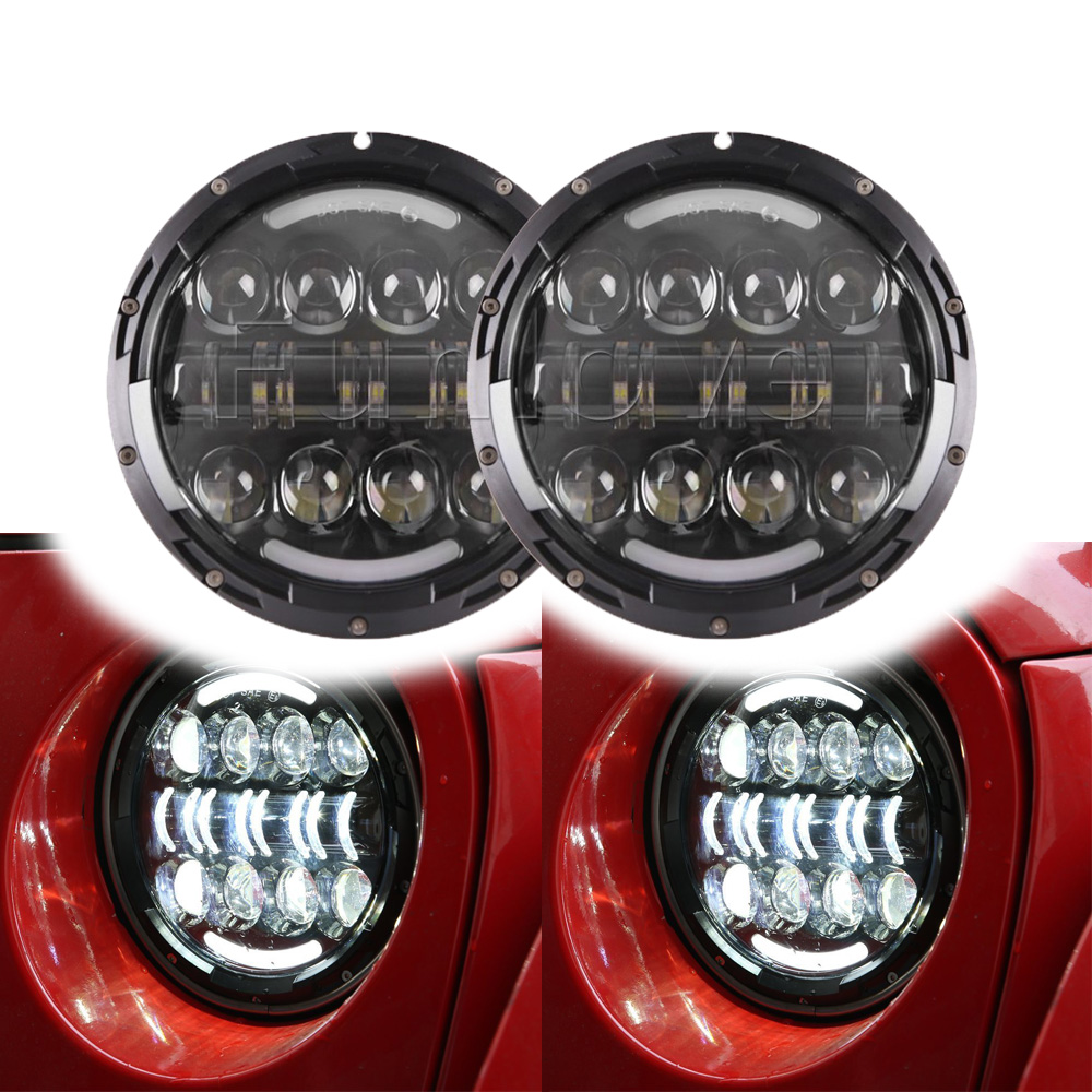 2PCS 80W Round LED Headlights Kit with Angel Eye DRL Amber Turn Signal Lights for Jeep Wrangler JK CJ LJ 7 inches led starry headlights with devil demon eye and led angel for jeep wrangler jk 2 pcs
