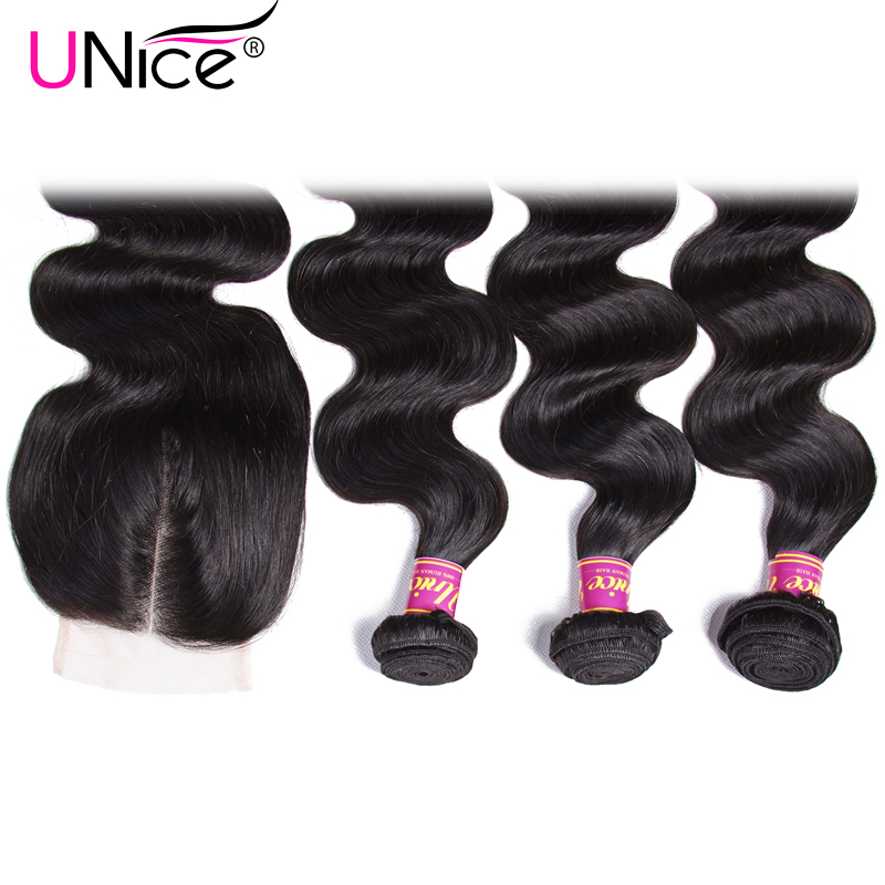 UNICE HAIR Malaysian Body Wave Hair 3 Bundles Send One Free Closure Natural Color Human Hair Weave Remy Hair Weft 8-30inch