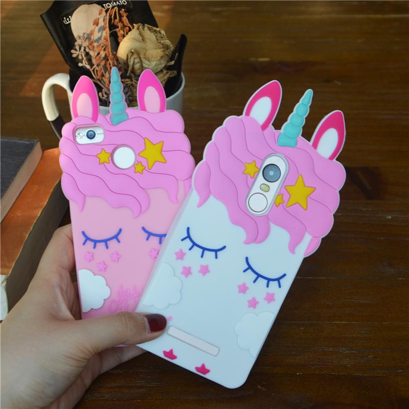 3D Cartoon Pink Unicorn Soft Silicone Case For Xiaomi Redmi 3S 4A 4X 5A Cases For Xiaomi Redmi Note 3 Note 4 Note 4X
