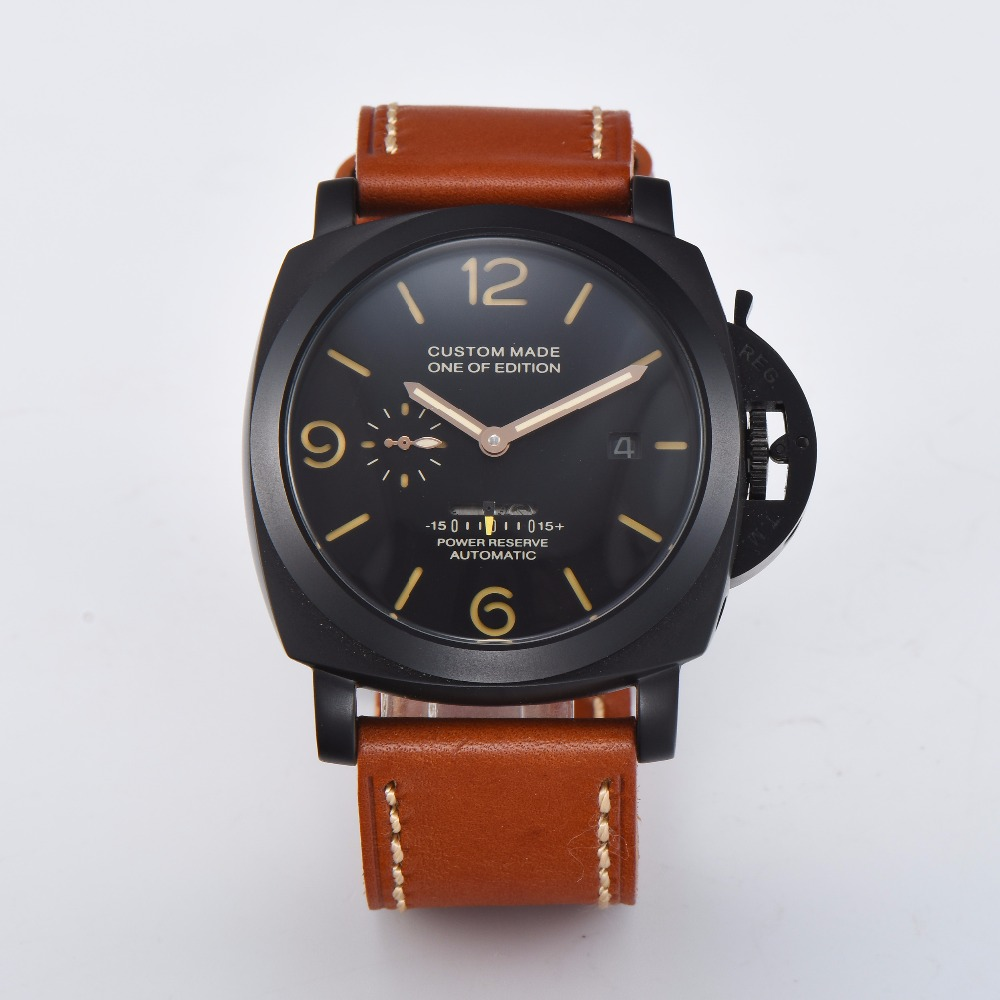 Parnis  47mm  automatic watch movement leather strap power reserve black PVD case mens watch P719-7Parnis  47mm  automatic watch movement leather strap power reserve black PVD case mens watch P719-7