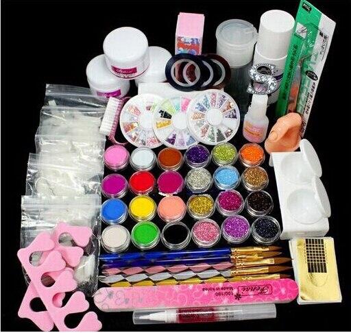 Top quality Acrylic Liquid Powder Brush Remover nail tips glue Glitter Clipper Primer File Nail Art Tips Tool Brush Tool Set