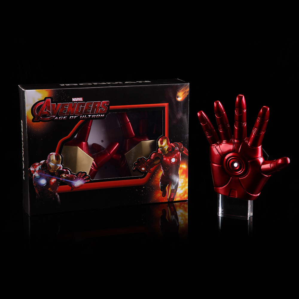 New Avengers Age of Ultron Iron Man Gloves with LED Light PVC Action Figure Collectible Model Toys avengers age of ultron hawkeye 1 0 1 6 mms172 action figure collectible model toy retail box wu819