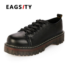 fashion women's casual lace up shoes platform thick sole work shoes round toe preppy style vintage oxford shoes