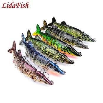 1 Pcs / 12.5 cm 20g Wobblers Fishing 8 Segments Swimbait Crankbait Fishing Bait Artificial Bait with Hooks