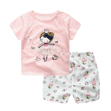 WYNNE GADIS Summer Baby Clothing Sets Cartoon Girls Short Sleeve O Neck T-shirt Tops + Print Shorts Kids Infant Two Pieces Suits
