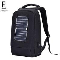 FENRUIEN Men Solar Powered Backpack Usb Charging Anti Theft 15.6 inch Laptop Backpack for Men Causal Mochila Backpack Travel