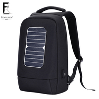 FRN Men Solar Powered Backpack Usb Charging Anti Theft 15.6 inch Laptop Backpack for Men Causal Mochila Solar Backpack Travel
