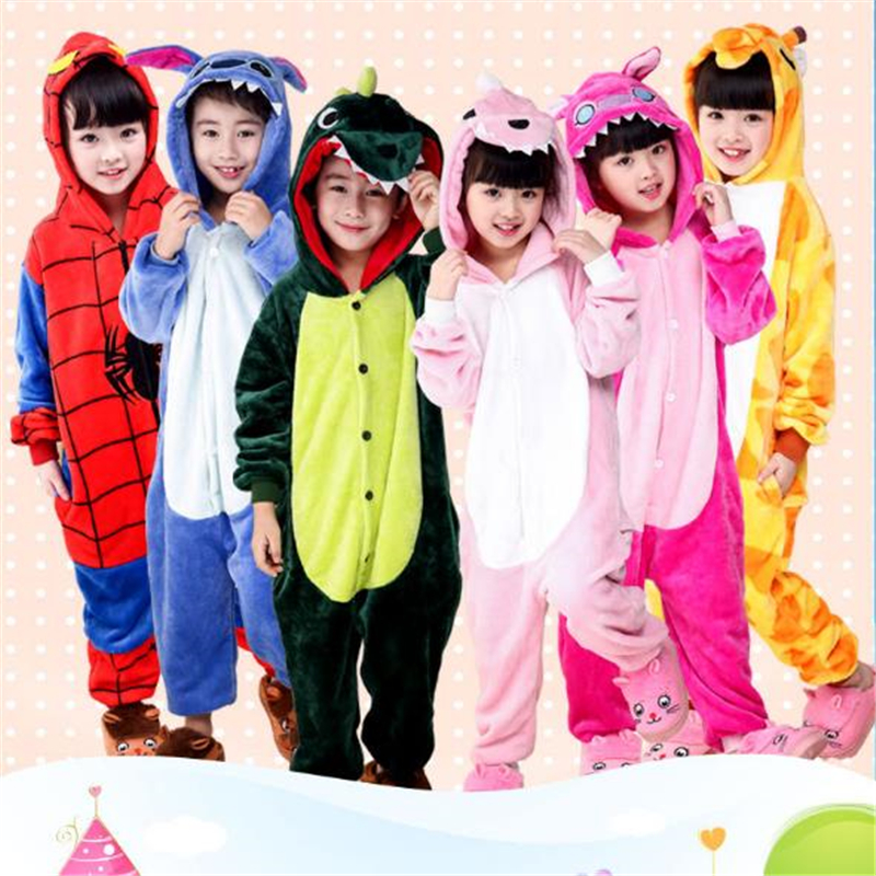 Autumn And Winter Childrens Cartoon Animal Piece Pajamas Flannel Long-Sleeved Home Clothes Birthday Halloween Home