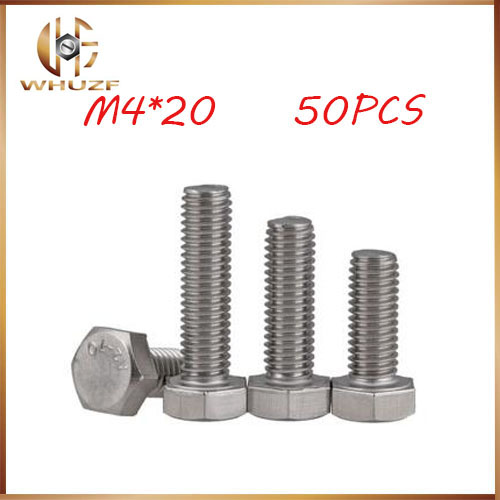 Free shippingFree Shipping 50pcsLot M4x20mm M4*20 304 Stainless Steel hex bolts Outside the hexagonal screw m4 bolts,m4 nails