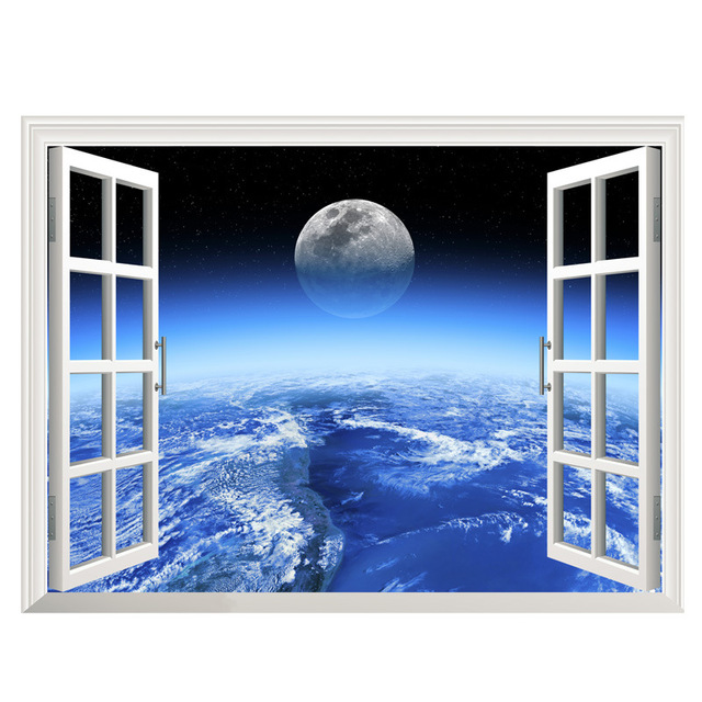 New 3d Window Outer Space Large Planet Wall Stickers For