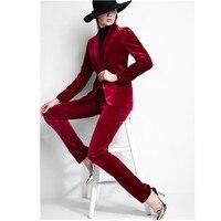 Для женщин Брючные костюмы для женщин на заказ леди OL Бизнес Костюмы деловой костюм зимний бархат высокого качества в западном стиле костюм