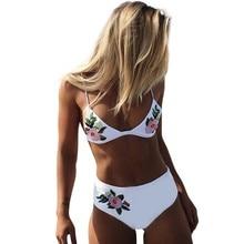 f1fa04729319f Halter Floral Up Bikini Multi Solid Colour Women Swimwear Trim Low Rise  Brazilian High Cut Leg