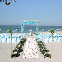 1set romantic beach theme wedding decoration organza chair sash satin chair tie organza Swag fabric paper lantern rose petals