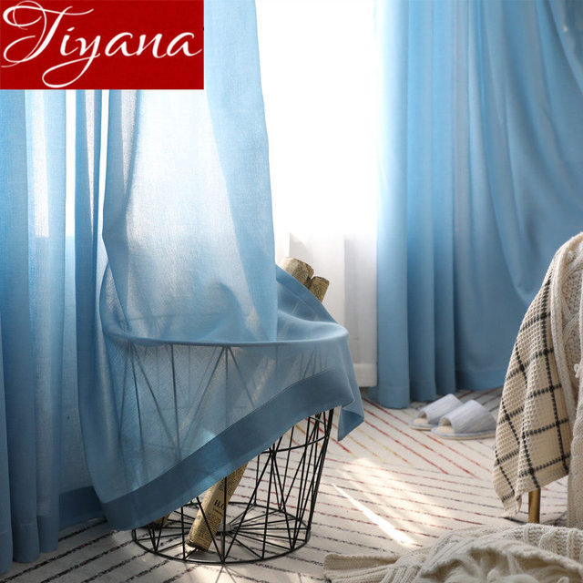 Blue Curtain For Living Room White Window Bedroom Sheer Fabrics Gray Voile Kitchen Treatment D