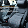Car-covers car pillow lumbar back support cushion Genuine cowhide leather+memory foam car headrest neck pillow car styling black