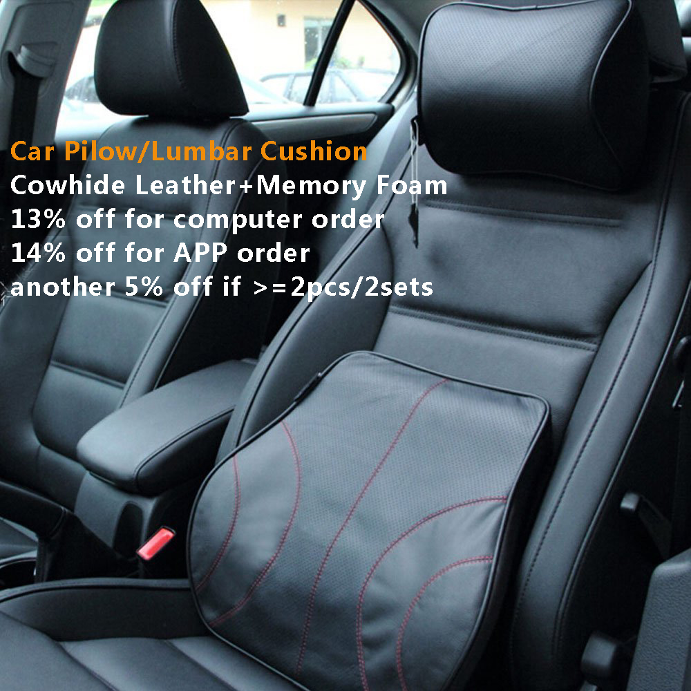 Car-covers classical car <font><b>pillow</b></font> back support lumbar cushion Genuine leather+memory foam car headrest neck <font><b>pillow</b></font> car styling