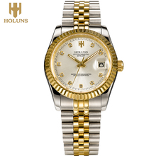 Luxury golden Holuns Original business mechanical men watch Stainless Steel Waterproof Shock Resistant reloj digital 2017