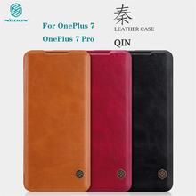 For OnePlus 7 Pro Flip Case OnePlus7 Cover Nillkin Qin Vintage Leather Flip Cover Card Pocket wallet For OnePlus7 Pro Phone Bags