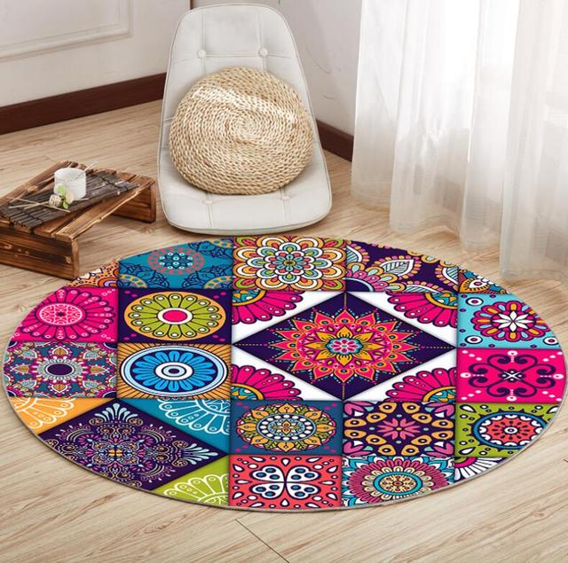 European Retro Ethnic Flannel Kitchen Bathroom Anti Slip Round Rugs