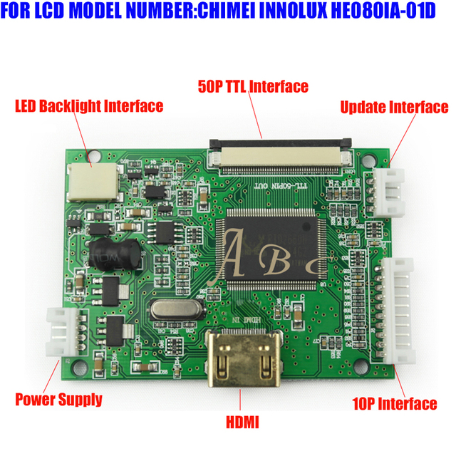"""HDMI 50P 40P TTL Parallel Controller Board for Raspberry PI 2 IPS TFT LCD Display HE080IA-01D HJ080IA-01E 8"""" 1024x768 Panel"""