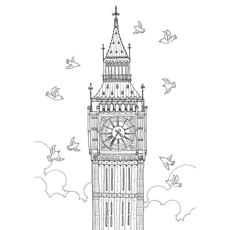 London Travel Buku Mewarnai Untuk Anak Anak Dewasa Menghilangkan