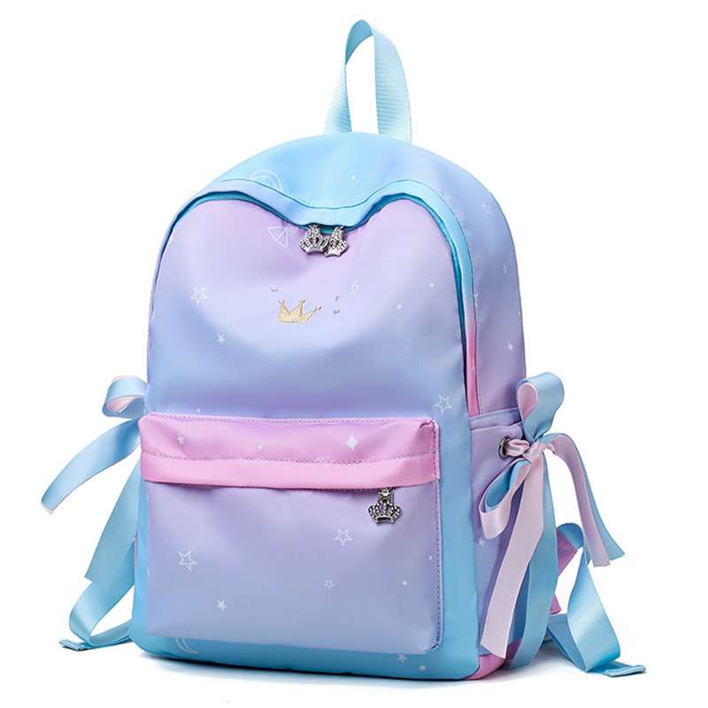 Color : Purple, Size : M GR 2018 New Ladies Backpack Fashion Fashion Design Waterproof Oxford with Leather Ladies Bag