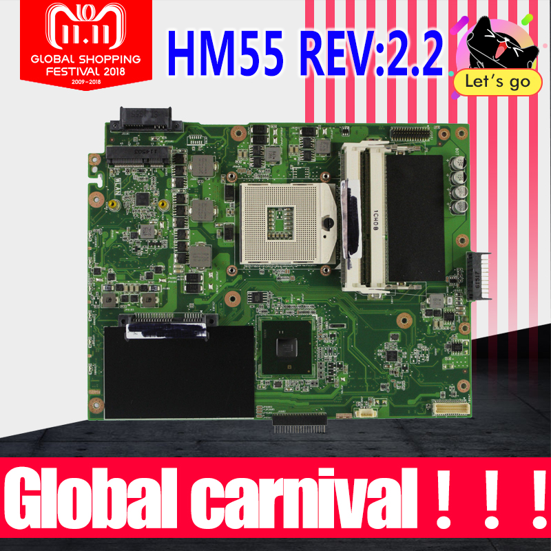 K52F Motherboard REV:2.2 HM55 DDR3 For ASUS K52 X52F A52F P52F laptop Motherboard K52F Mainboard K52F Motherboard test 100% OK