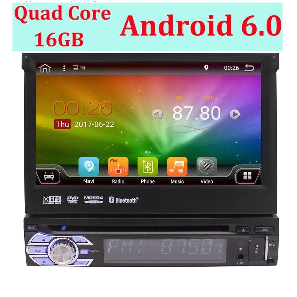 Android 6.0 autoradio Din unique 1 unité de tête Din Support de Navigation GPS DAB +, OBD2, WiFi 3G, Radio RDS, 64 go USB SD, Bluetooth
