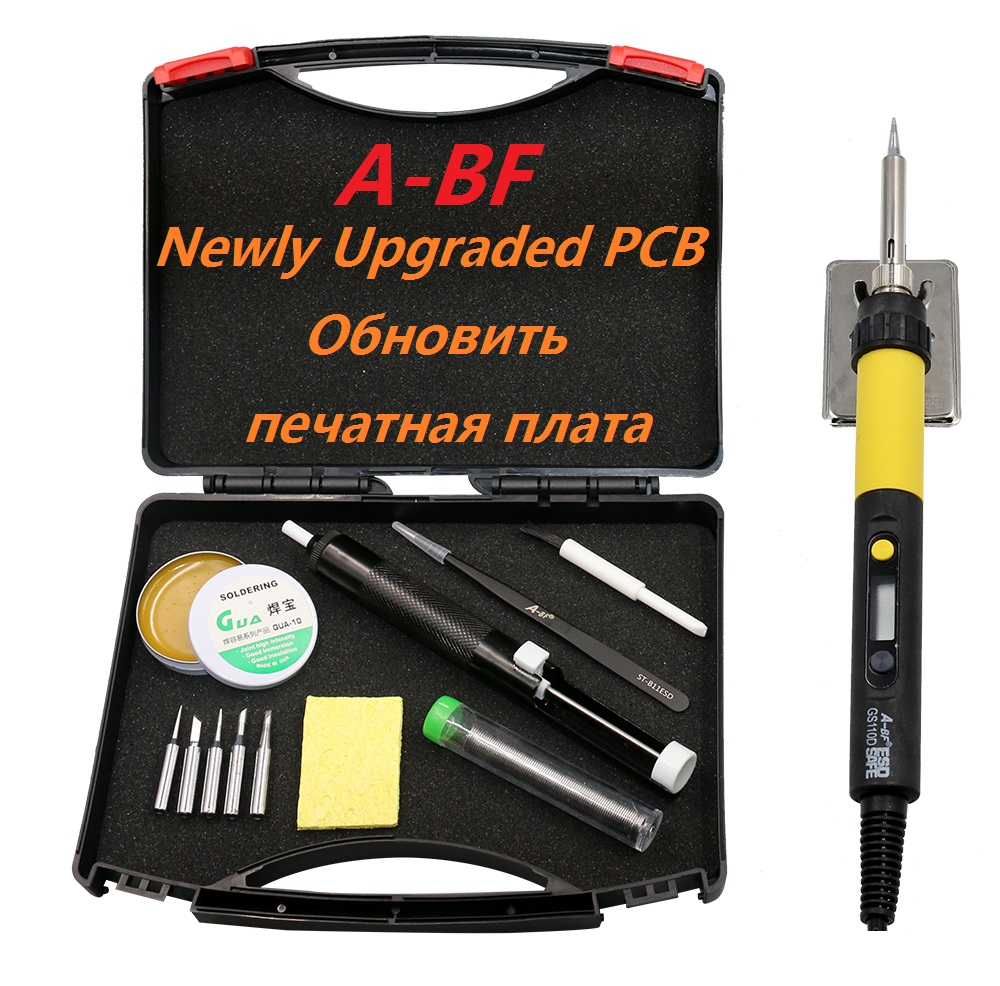 New Soldering Iron A-BF GS90D GS110D LCD Display adjustable temperature electric soldering iron Kit with Solder Soldering tips soldering station heat soldering irons soldering stand welding electric soldering iron a bf gs110d 220v 110w