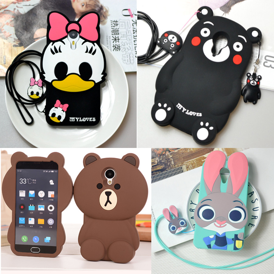 Cute Cartoon 3D Rabbit Judy Hopps Daisy Duck Kumamon Bear Phone Case for Meizu M3 Note 5.5'' Soft Silicone Cover Coque Fundas