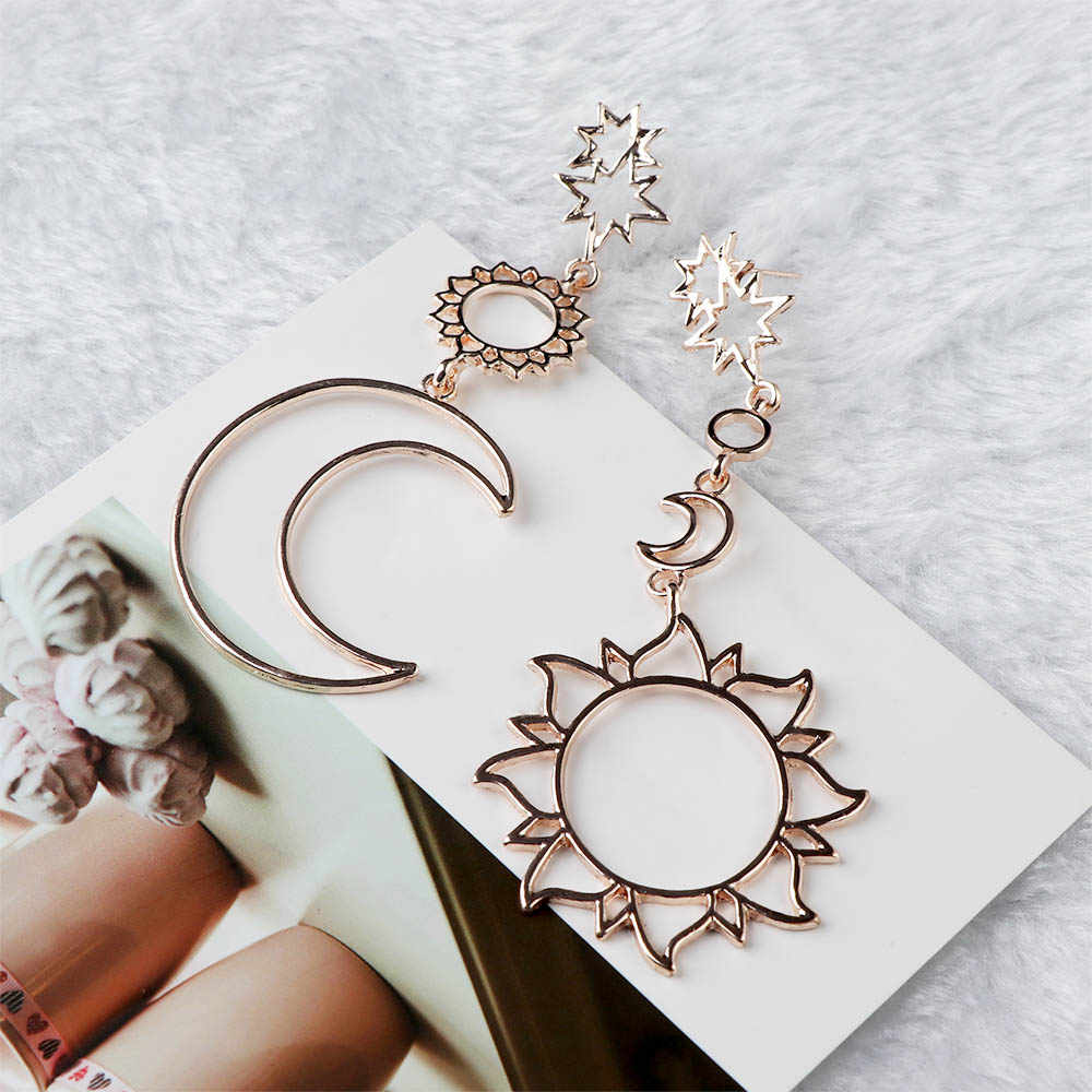 1 Pair New Women Fashion Dangle Earrings  Hollow Star Moon Sun Asymmetry Drop Earrings Jewelry Gift