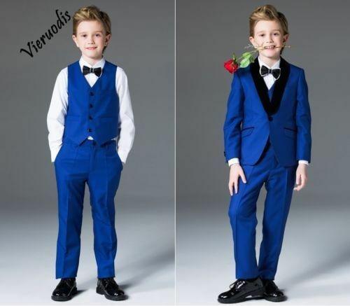 107-1     Boys Suits Royal Blue Flower Boys Wedding Suit Page Boy Party Prom 3 Piece Suits