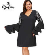 AZULINA Plus Size Em Camadas Alargamento Da Luva V Neck Vestido Solto Mulheres Hetero Lantejoulas Mini Vestidos Vestido Outono Vestir Roupas Casuais
