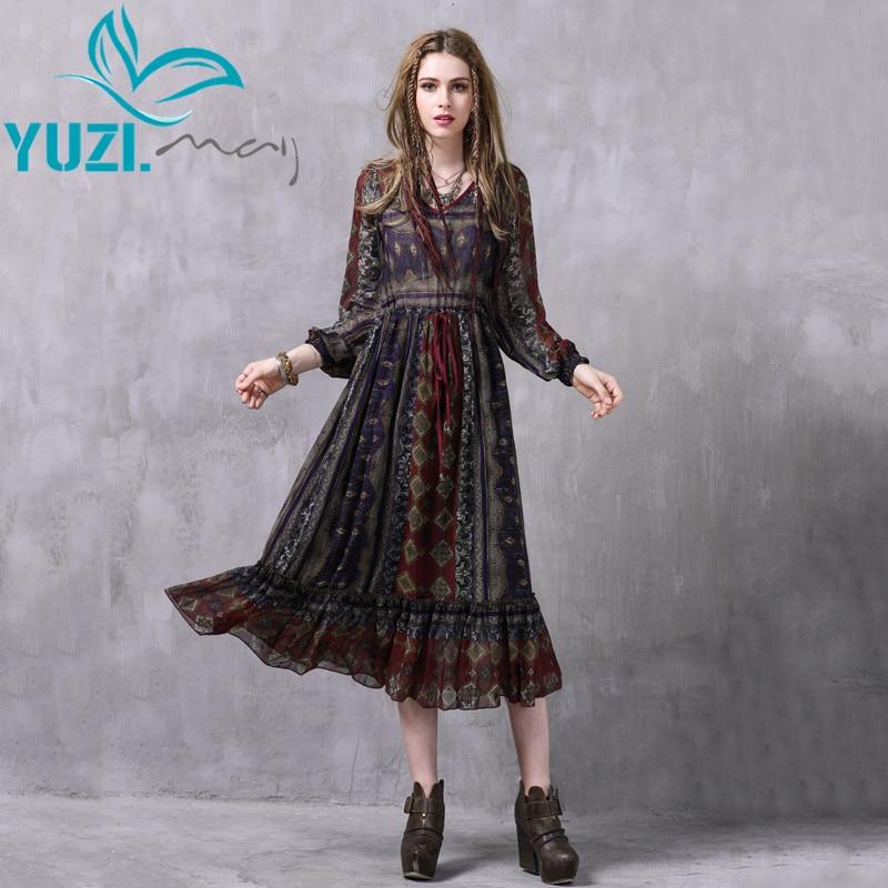 2017 Summer Dress Yuzi may Boho New Chiffon Vestidos Long Sleeve V Neck Floral Print High
