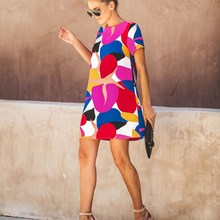 2019 Summer Vacation Loose Dress Women Short Sleeve Printed Short Holiday Dress Mini Ladies Leisure Shift Dresses Vestido стоимость
