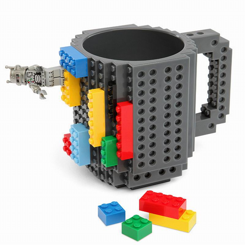 Build-On Brick Mug DIY Bulding Blocks Coffee Mugs 350 ml Creative Drinkware BPA Free mug Birthday Gifts Tazas ...