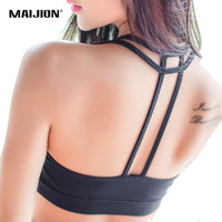 MAIJION Fashion Sexy Women Hollow Back Tank Tops Exercise Workout Top Double Cross Vest With Padded