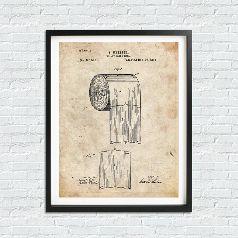 Bathroom Blueprints Wall Print