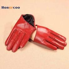 Fashion New 2017 Genuine Leather Adult Women Gloves Wrist Solid Rivet Style Goatskin Glove Short Black Driving Hot Sale